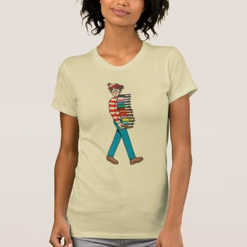 Where's Waldo Carrying Stack Of Books T-shirt by WheresWaldo at Zazzle