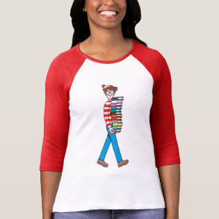 Where's Waldo Carrying Stack of Books T Shirts