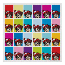 Where's Waldo Colorful Pattern Poster