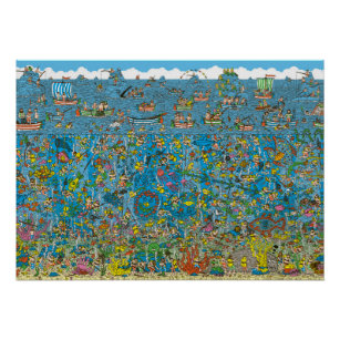 graphic relating to Where's Waldo Printable called Wheres Waldo Deep Sea Divers Poster