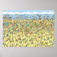 Where's Waldo on the Beach Poster