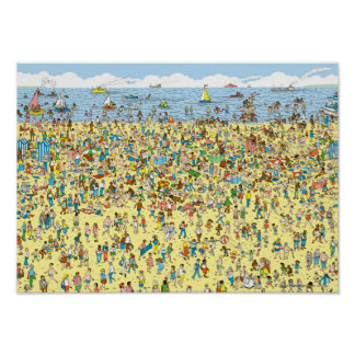Where's Waldo on the Beach Poster