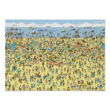 Beach Themed Where's Waldo on the Beach Poster