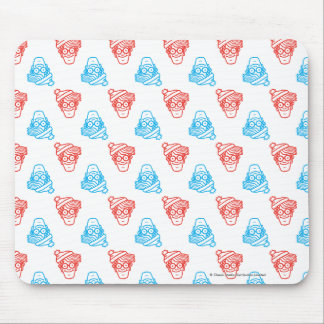 Where's Waldo Red and Blue Face Pattern Mouse Pad