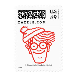 Where's Waldo Red and Blue Face Pattern Postage