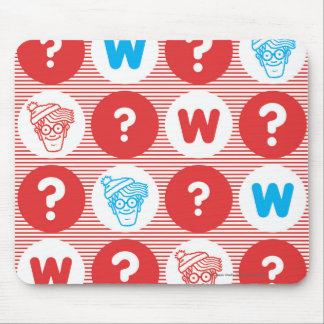 Where's Waldo Red, White and Blue Pattern Mouse Pad