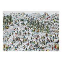 Where's Waldo Ski Slopes Poster