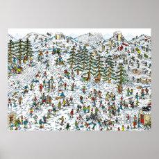 Where's Waldo Ski Slopes Poster