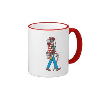Where's Waldo with all his Equipment Ringer Coffee Mug