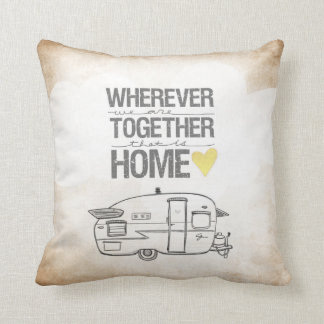 Wherever We Are Together series- Shasta Trailer Throw Pillow