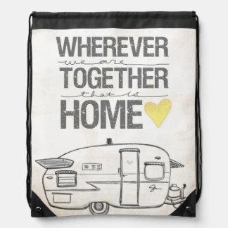Wherever We Are Together | Vintage Trailer Drawstring Backpack