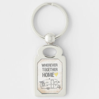 Wherever We Are Together | Vintage Trailer Silver-Colored Rectangular Metal Keychain