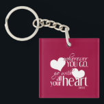 "Wherever you go, go with all your Heart Keychain<br><div class=""desc"">Customization/Personalization: If you like the design but would prefer a change in wording or decoration, please contact me. Use the link above, or visit my store and use the &#39;send message&#39; link, with no obligation to buy. You can also change the color of the background very easily yourself. Hit &#39;Customize...</div>"
