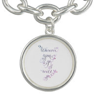 Wherever you go love bible verse quote charm bracelets