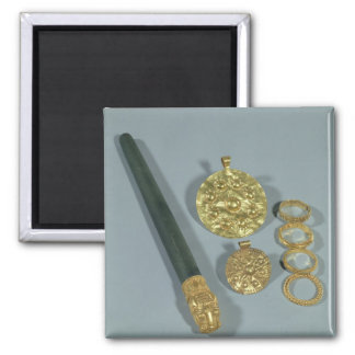 Whetstone and rings with granulated decoration, Su 2 Inch Square Magnet