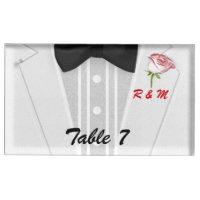 Whiate Tuxedo Monogram with Rose Table Card Holder