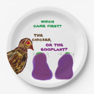which came first? chicken or eggplant? Paper Plate