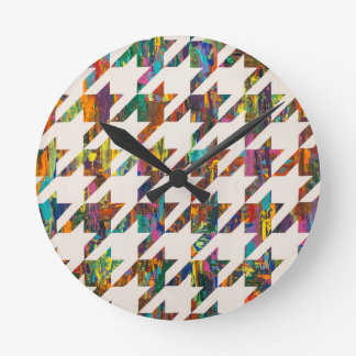 Which Came First, Galaga or Houndstooth? Round Wallclocks