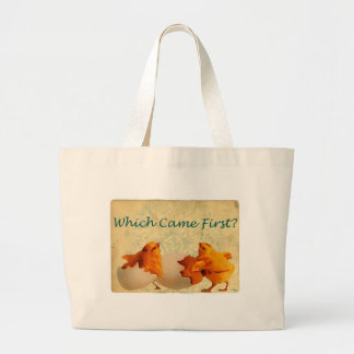 Which Came First The Chicken Or The Egg Large Tote Bag