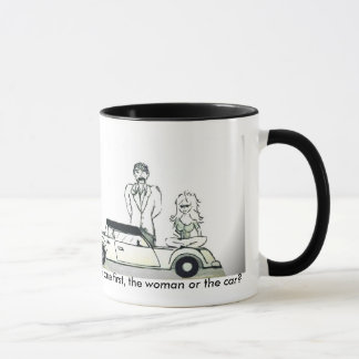 Which came first, the woman or the car? mug