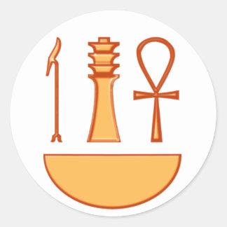 Which Djed Anch symbol triad Classic Round Sticker