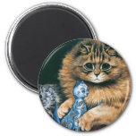 Which Do I Love Best? Louis Wain Cat Artwork 2 Inch Round Magnet