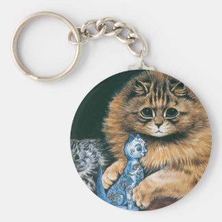 Which Do I Love Best? Louis Wain Cat Artwork Basic Round Button Keychain