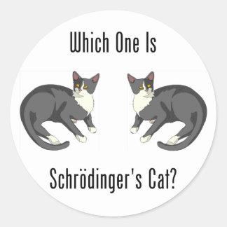 Which One Is Schrodinger's Cat? Classic Round Sticker