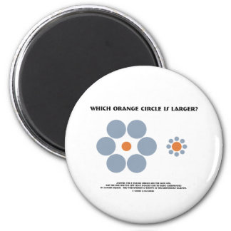 Which Orange Circle Is Larger? (Optical Illusion) 2 Inch Round Magnet