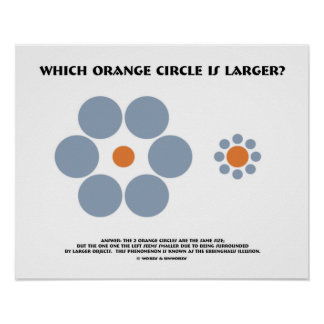 Which Orange Circle Is Larger? (Optical Illusion) Poster
