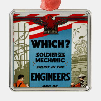 Which? Soldier or Mechanic Square Metal Christmas Ornament