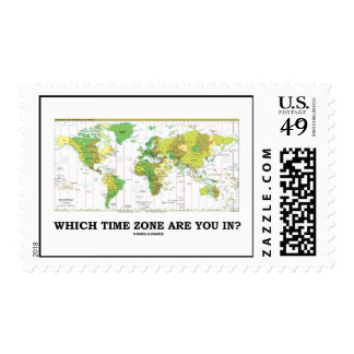 Which Time Zone Are You In? (Time Zones World Map) Postage Stamp