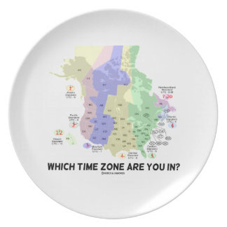 Which Time Zone Are You In? (United States Canada) Party Plates