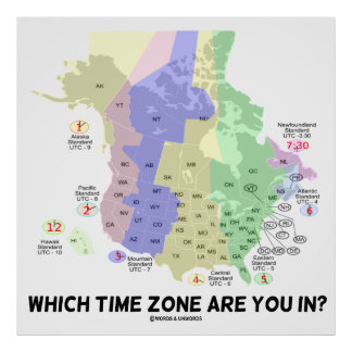 Time Zone Posters Zazzle - Us map with time zones and states