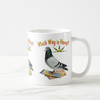 Which Way is Home Pigeon Art Coffee Mugs