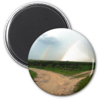 'Which way now?' Double Rainbow at Crossroads... 2 Inch Round Magnet