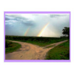 WHICH WAY NOW, DOUBLE RAINBOW AT CROSSROADS POST CARD