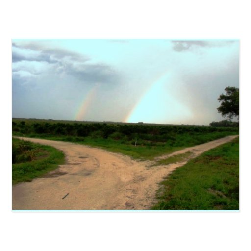 Which way now~Double Rainbow at Crossroads Postcard