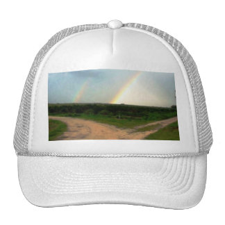 Which way now, double rainbows at crossroads trucker hat