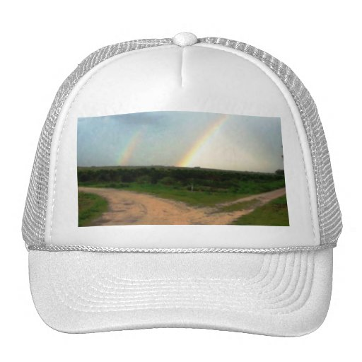 Which way now, double rainbows at crossroads hat