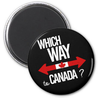 Which way to Canada -- white - -  Magnet