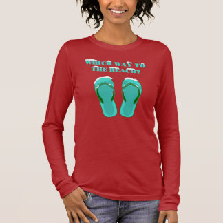Which way to the beach (green) long sleeve T-Shirt