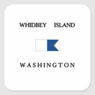 Whidbey Island Washington Alpha Dive Flag Square Sticker
