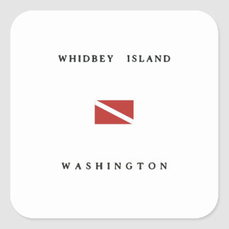 Whidbey Island Washington Scuba Dive Flag Square Sticker