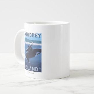 Whidbey Island, WashingtonOrca and Calf Giant Coffee Mug