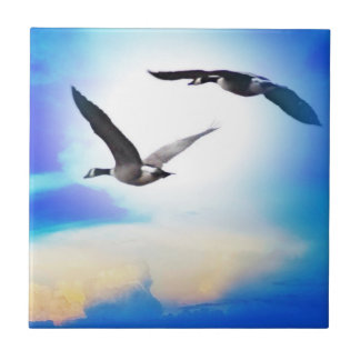 While Geese Ceramic Tile