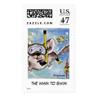 Whim to Swim Cartoon Custom Stamps