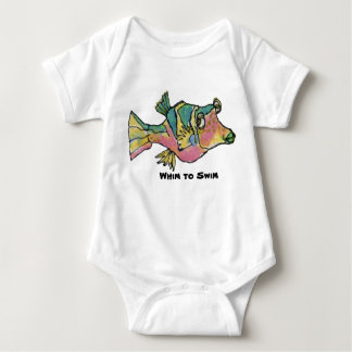 Whim To Swim Cartoon Fish Rainbow Boxfish Baby Bodysuit