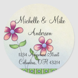 Whimiscal Little Flowers Return Address Labels Classic Round Sticker