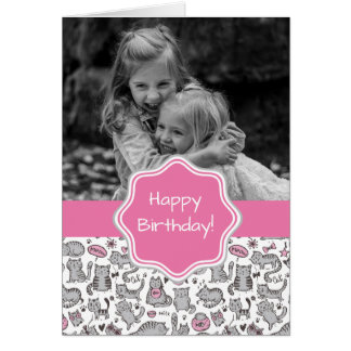 Whimiscal Pink and Gray Cartoon Cat Gift Ideas Card